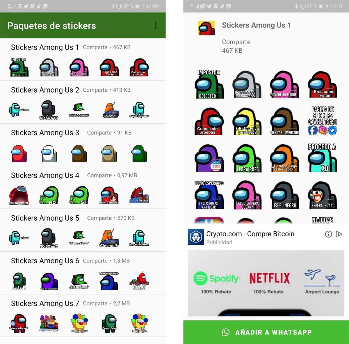 Los mejores stickers de Among Us para WhatsApp